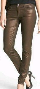 7 for All Mankind Coated Skinny Jeans Brown